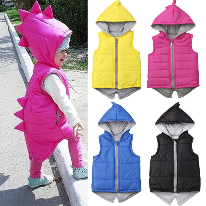 6M-5T Kids Winter Warm Cartoon 3D Dinosaur Hoodies Princess Kids Baby Girl Cotton-padded Jacket Waistcoat Coat Outwear