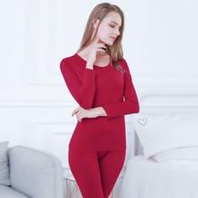 DINGDNSHOW Plus Size Thermal Underwear Cotton Standard Winter Warm Ladies Long Johns Set Breathable
