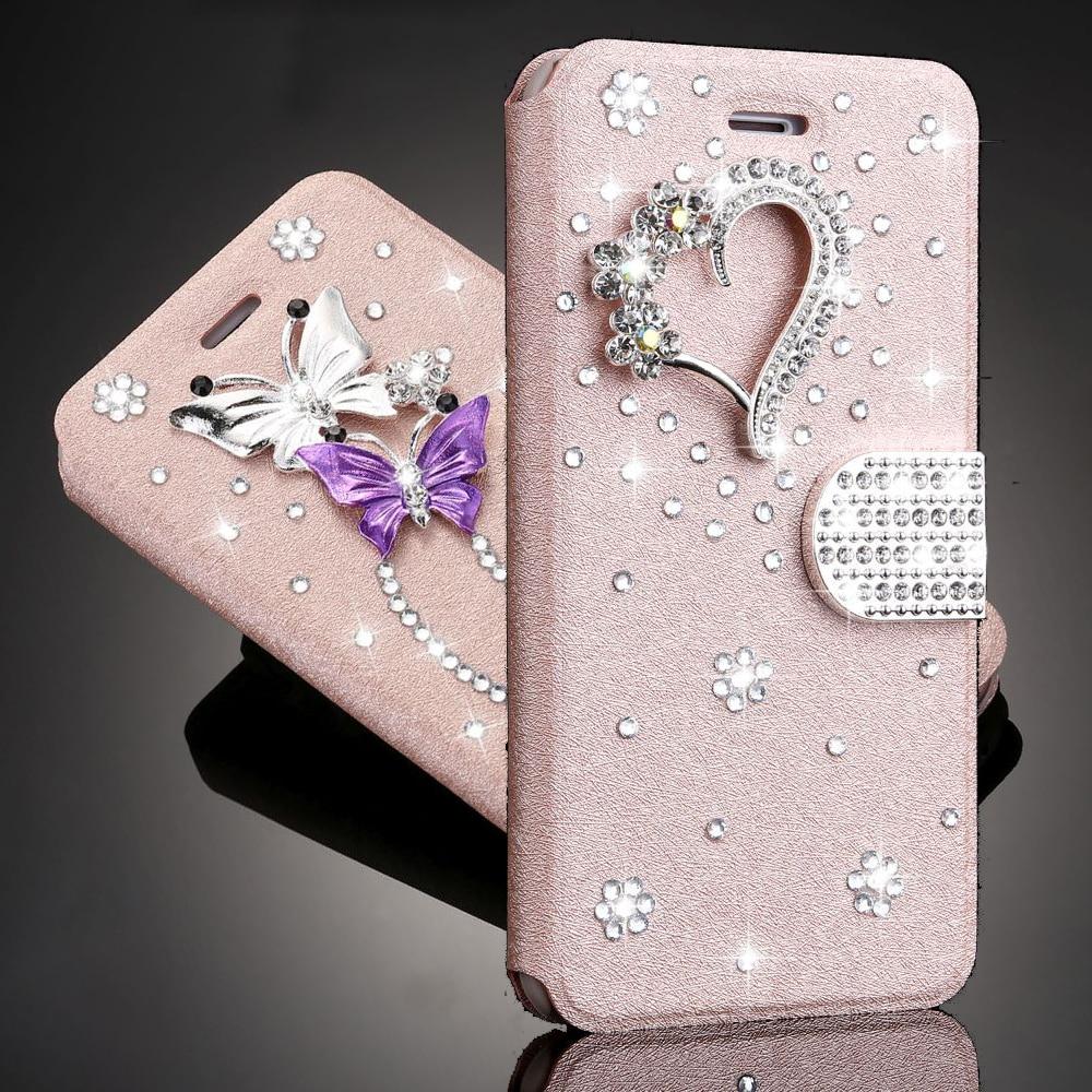 Glitter 3D Rhinestone Caso Da Borboleta para O Iphone 11 Xs Pro Max Xr X 7 8 Plus 6 5 6s 5S SE 2020 Coração Carteira Magnética Tampa Flip