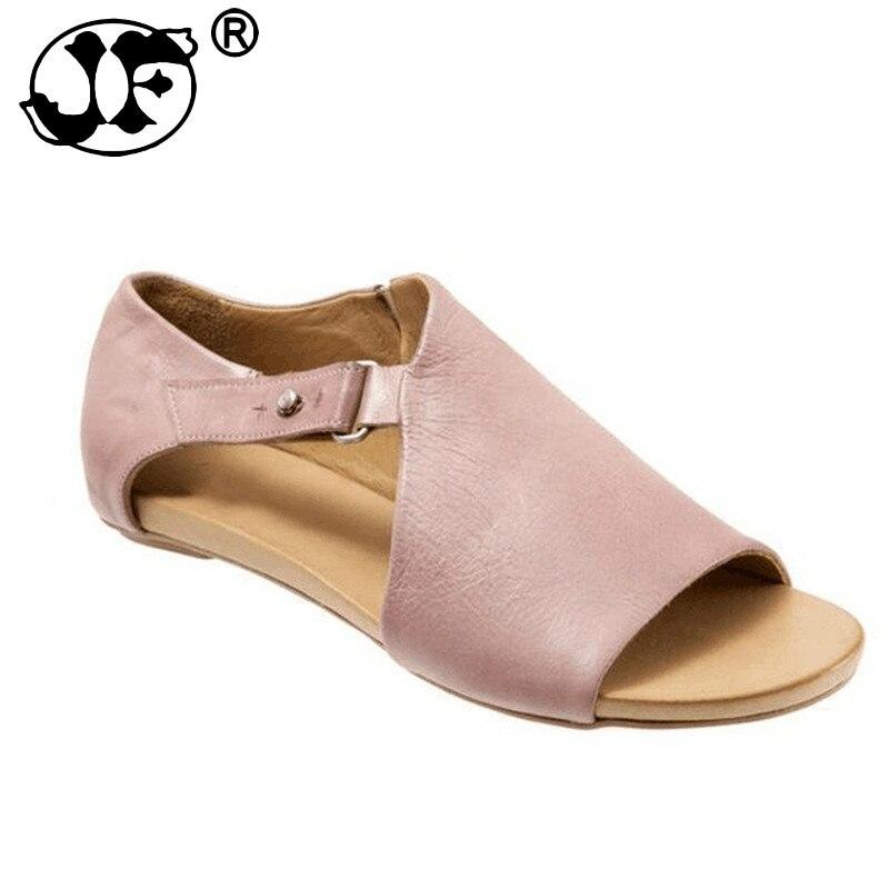Nuevas sandalias para mujer, Sandalias planas con velcro, Gladiador de verano para mujer, zapatos de punta abierta a la moda de talla grande Roma, zapatos informales para mujer, estilo Peep Toe 2019