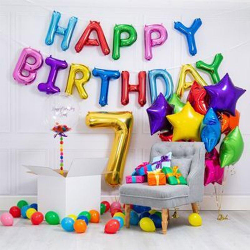 7 años de edad globos de fiesta de cumpleaños número 7 letras globos 7 cumpleaños niño niña cumpleaños fiesta decoración niños aniversario