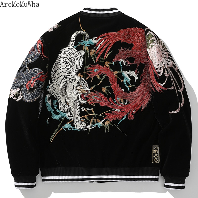 Autumn/winter New Yokosuka Heavy Industries Four Mythical Beast Cotton Coat Men's Dragon Tiger Heavy Industry Embroidered Jacket