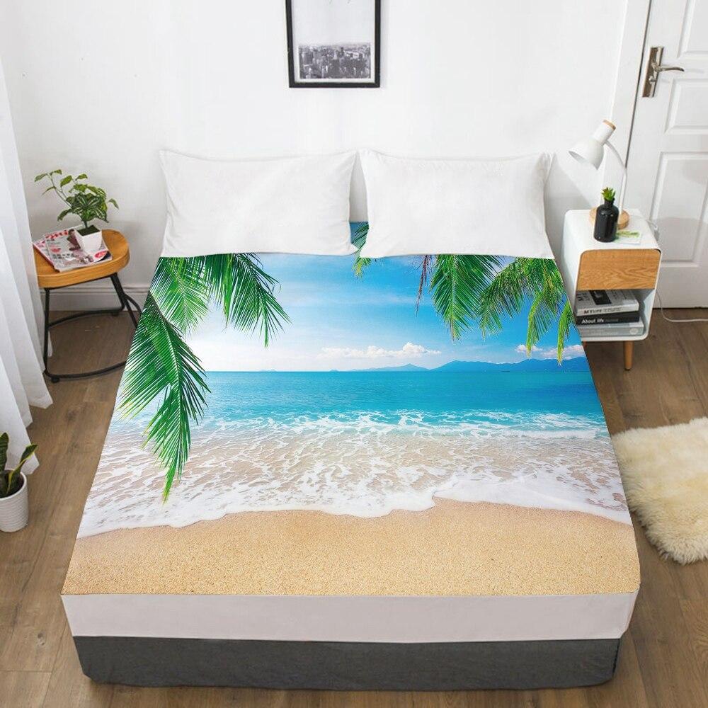مرونة المجهزة غطاء سرير ورقة مع شريط مرن 160x20 0/180/200/150x200 غطاء مرتبة غطاء السرير 1 قطعة ورقة خضراء