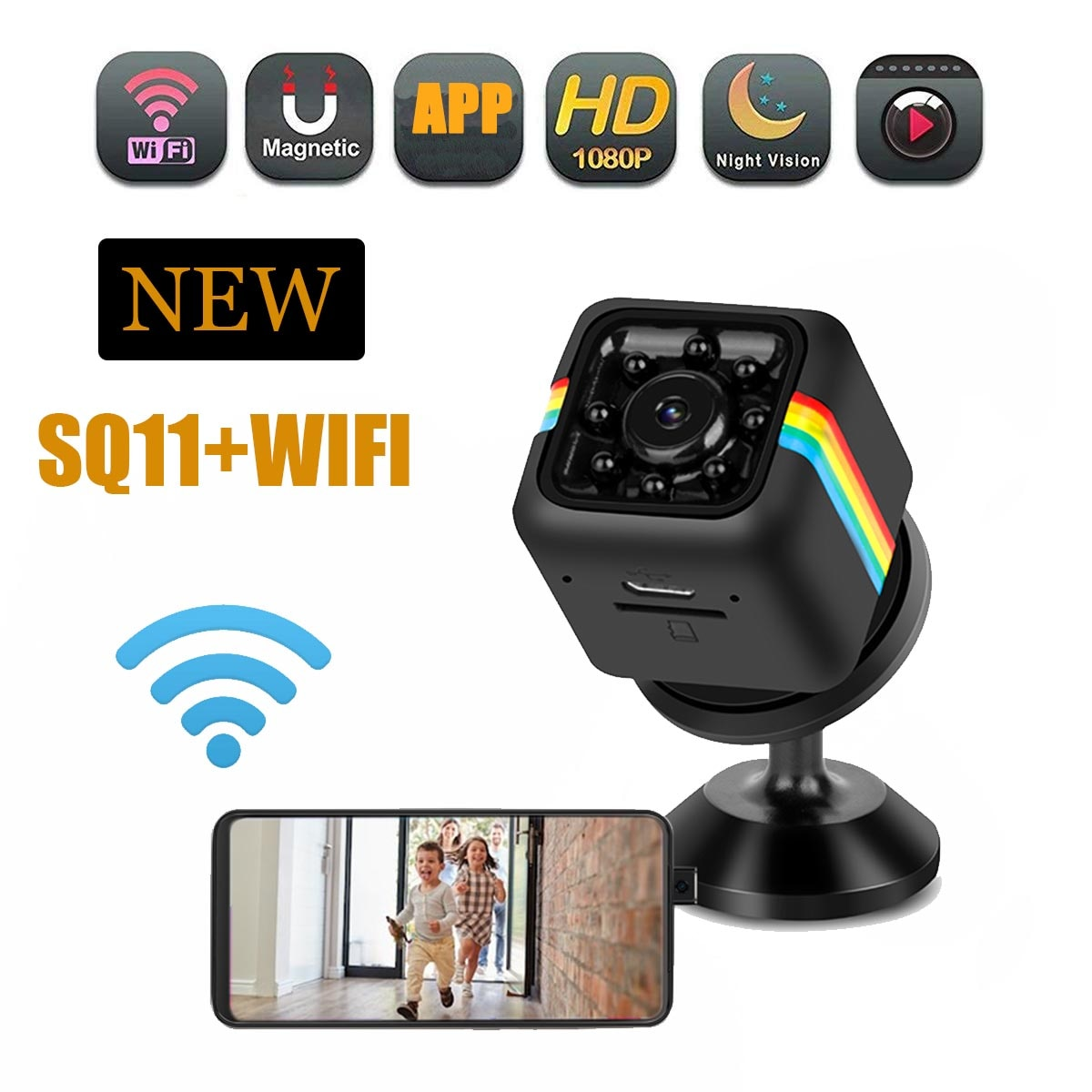 JOZUZE واي فاي كاميرا صغيرة HD 1080P DVR للرؤية الليلية كاميرا لاسلكية كام كاميرا دقيقة الرياضة فيديو رقمي صغير جدا سرية كام SQ11
