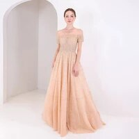 2020 couture gold off the shoulder evening dress crystals beaded aline formal gown evening party dresses