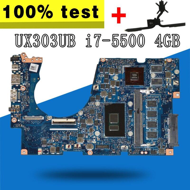 Enviar disipador de calor para For Asus ux303u ux303ub u303u ordenador portátil placa base I7-5500 GT940M 4Gb RAM 100% funciona bien