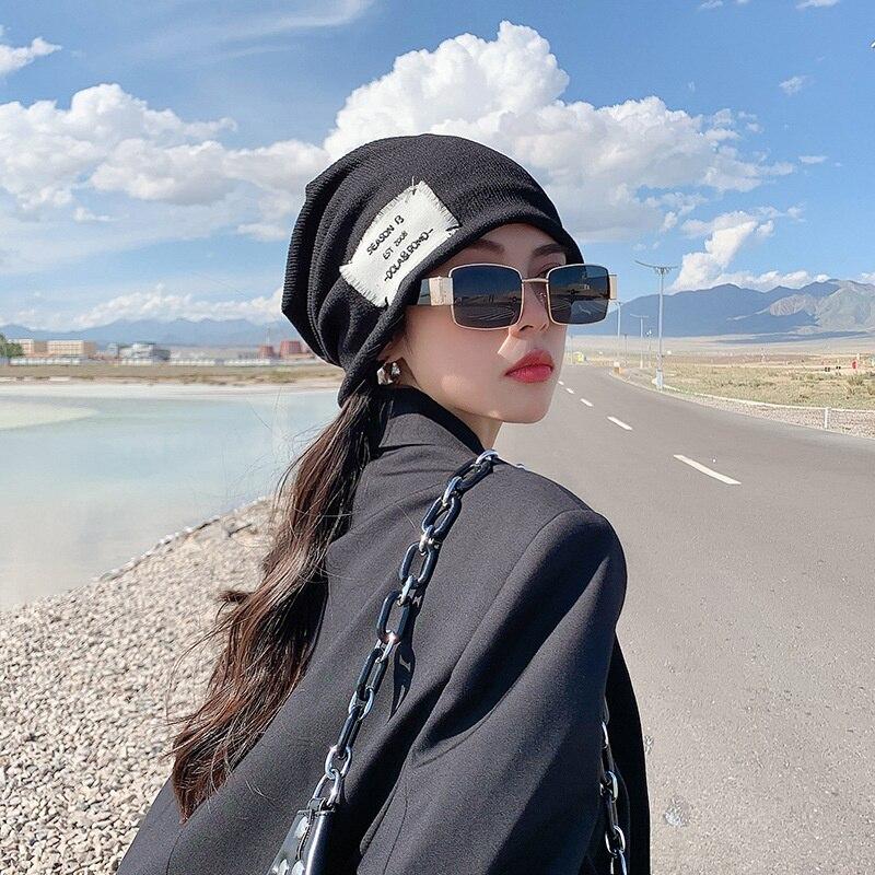 Women's Korean Fashion Autumn And Winter Versatile Pullover Hat Soft Hip Hop Beanies Bonnet Solid Cap