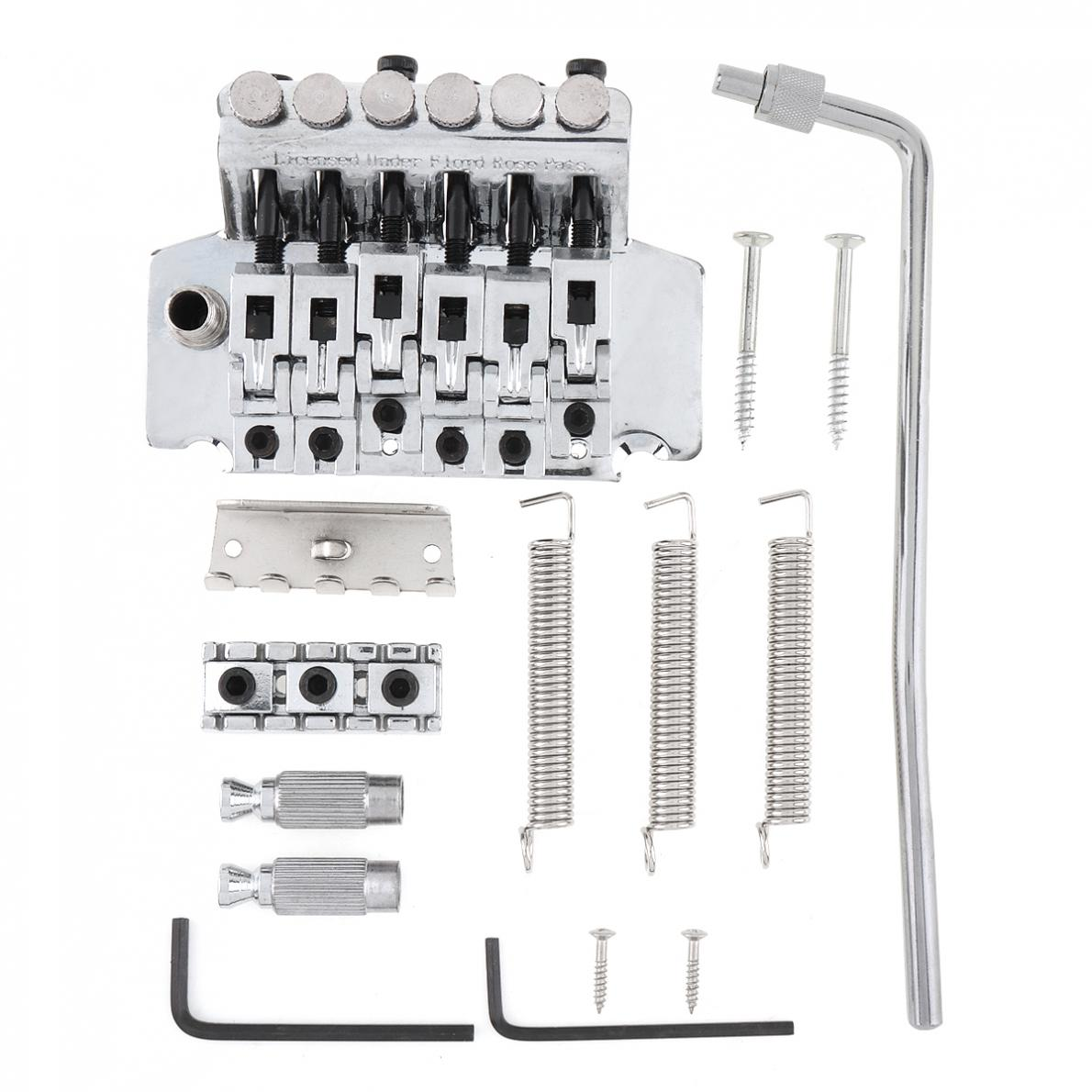 6 String Double Roll Tailpiece Saddle Tremolo Bridge System Silver / Black Optional Guitar Accessories enlarge