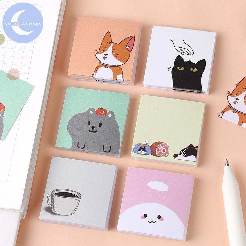 YueGuangXia 6Designs Fox Animal Memo Plan Pocket Notepad Black Cat Sticky Notes Creative Self-Stick Notes Memo Pads 50pcs/pad