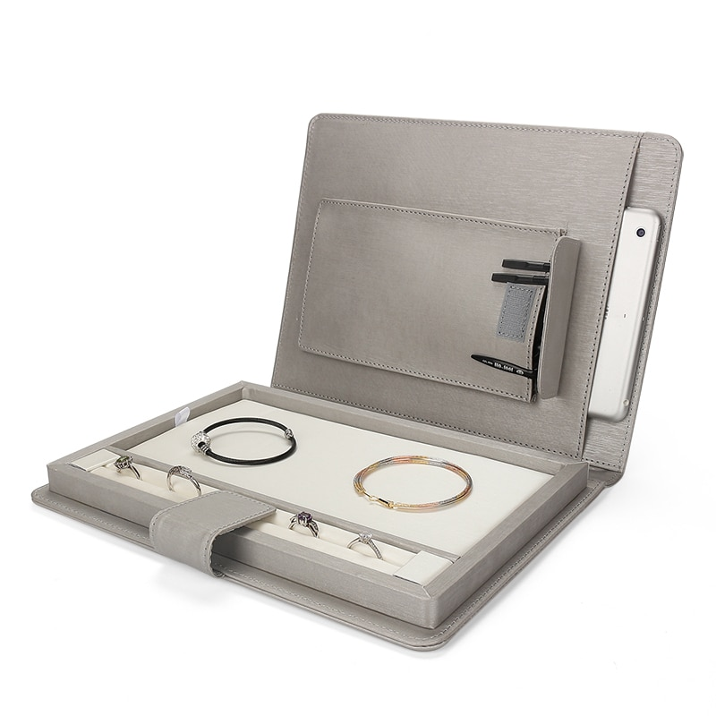 Gray Jewelry Display Pu Leather Magnetic Button Multifunction Ring Pendent Bracelet Jewellery Storage Box For Travel Portable