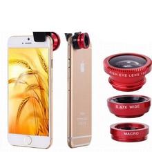 3 Em 1 Universal Clipe Fisheye Lente Da Câmera Olho de Peixe Grande Angular Macro Lentes para Iphone 7 6 6s 5 4S Samsung Huawei Sony Smartphones