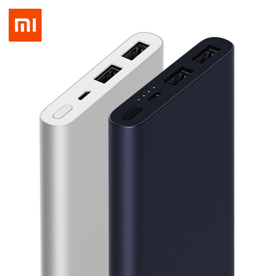 New Xiaomi Mi Power Bank 2 10000 mAh Redmi Power Bank Dual USB Port Quick Charge Powerbank Ultra-thin External Battery charging