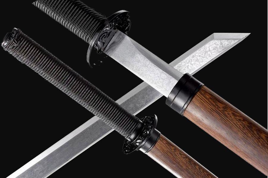 Espada afilada hecha a mano kungfú chino HRC60 hoja de acero al carbono Wu Shu Saber Xuanwu Dao Full Tang
