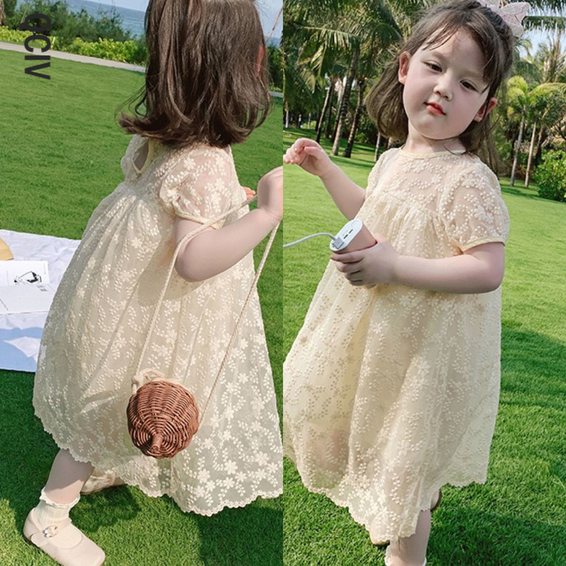 Новое поступление, детское милое платье принцессы, летнее платье для девочек, детское платье на Возраст 3-8 лет, желтое кружевное платье для д...
