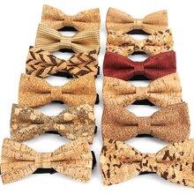 Nova cortiça de madeira moda laço gravatas dos homens novidade feito à mão sólido neckwear para festa de casamento homem presente acessórios masculino bowtie