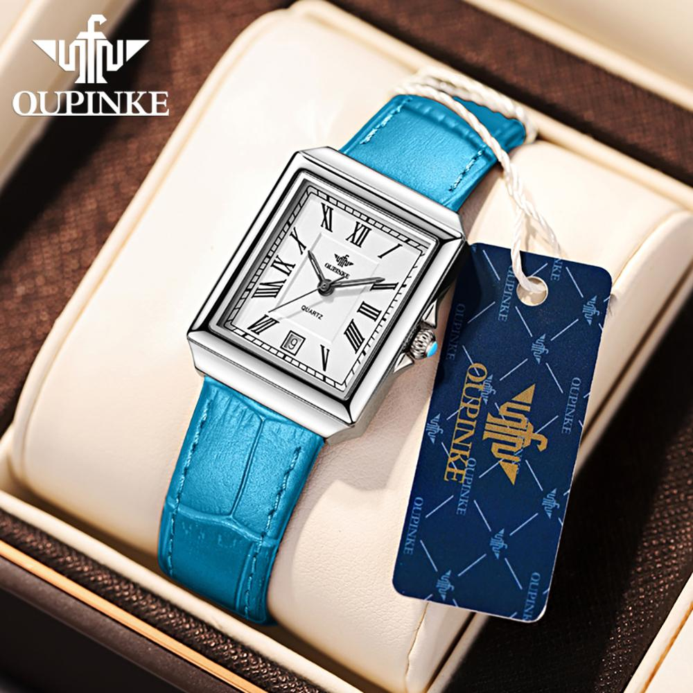 OUPINKE Women Watches 1 set Bracelet Swiss Quartz Movement Watch Luxury Ladies Leather Rose Gold Wrist Watch Gifts For Women