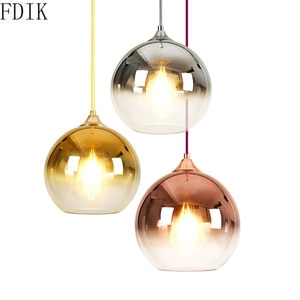 Nordic Round Glass Pendant Lights Modern Desgin Led Hanging Lamp for Living Room Kitchen Vintage Deco Gradient Light Fixtures