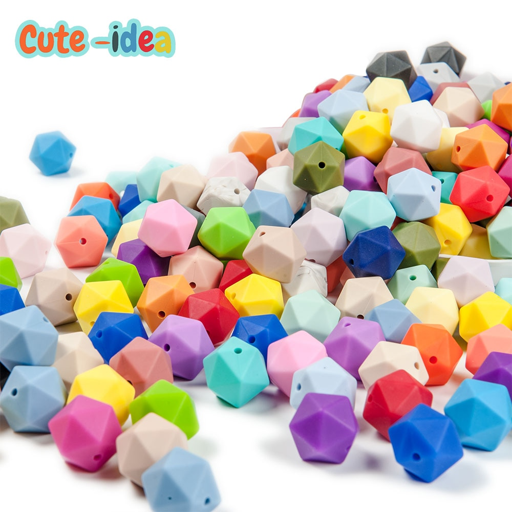 Cute-idea 300pcs 17mm Icosahedron Silicone Loose Teething Beads DIY Necklace Jewelry Making For Baby Teething Safe Toys products