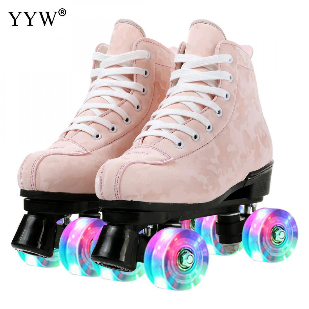 زلاجات دوارة الاصطناعي Fibr Eroller صف مزدوج بكرة أحذية الفتيات النساء الرجال الوردي الأسود في الهواء الطلق التزلج بكرات أحذية التزلج
