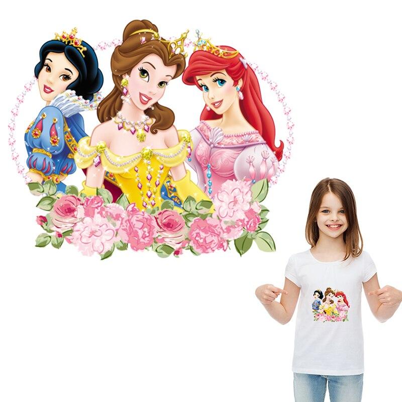 Pegatinas de dibujos animados, Parches de princesa para planchar, accesorio de ropa, nuevo accesorio lavable Diy de transferencia de calor, impresión fácil por plancha para el hogar