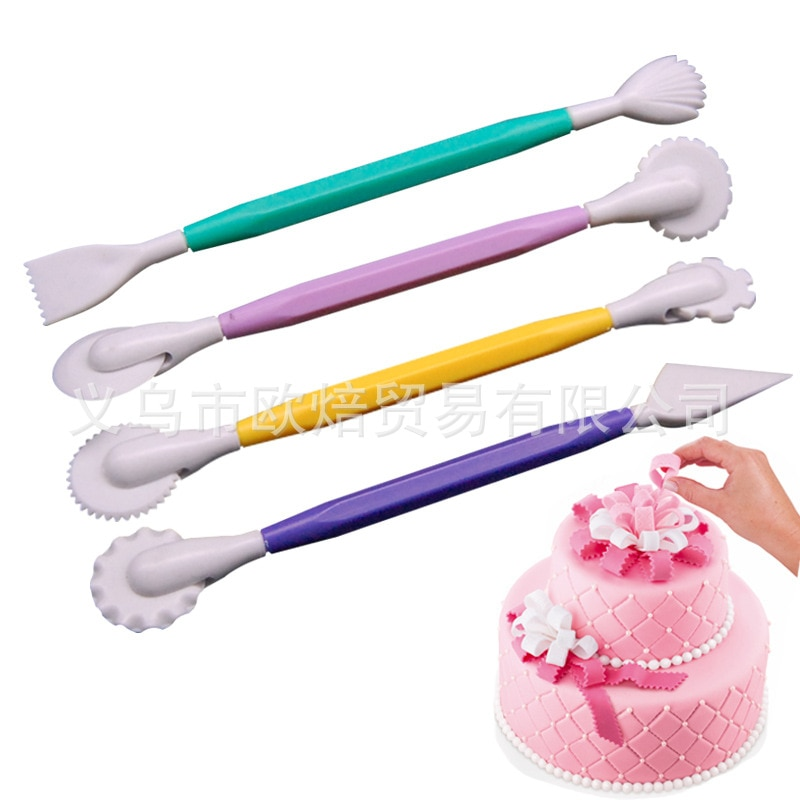 Оптовая продажа, 4 штуки в наборе, помадка, резьба по торту, групповая резьба, нож, режущее колесо, Сахарный цветок, моделирующий инструмент