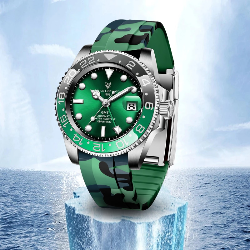 Relógio de Negócios 100m à Prova Lige Design Relógios Rotativa Moldura Relógio Mecânico Masculino Hardlex Vidro Marca Superior Dwaterproof Água Gmt 40mm
