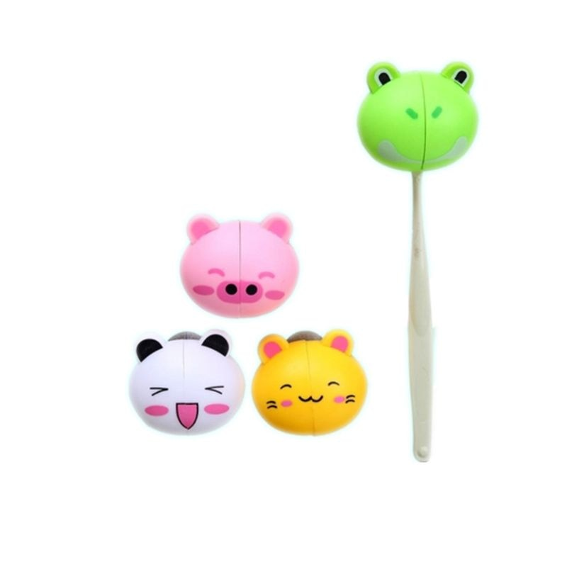 Kids Cute Cartoon Animal Head Shaped Toothbrush Holder Cover Two Suction Cup Colored Wall Mounted Bathroom Accessories