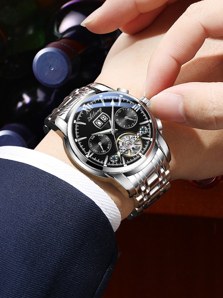 AILANG genuine top watch men's automatic mechanical watch sports hollow business new men's watch enlarge