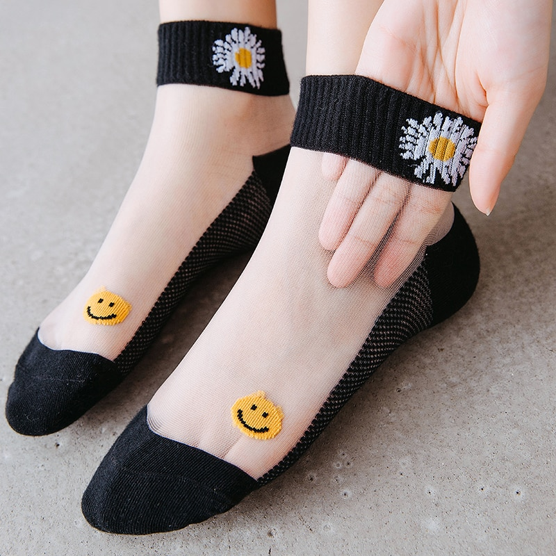 HYRAX Flower Socks 5 Pairs Women's Thin Lace Stockings Small Pattern Design Lace Sexy Fashion Ladies