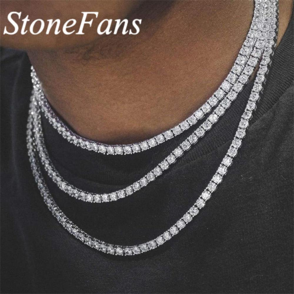 Stonefans rosa tênis corrente colar masculino ouro banhado a prata vintage charme preto cristal strass gargantilha colar feminino jóias