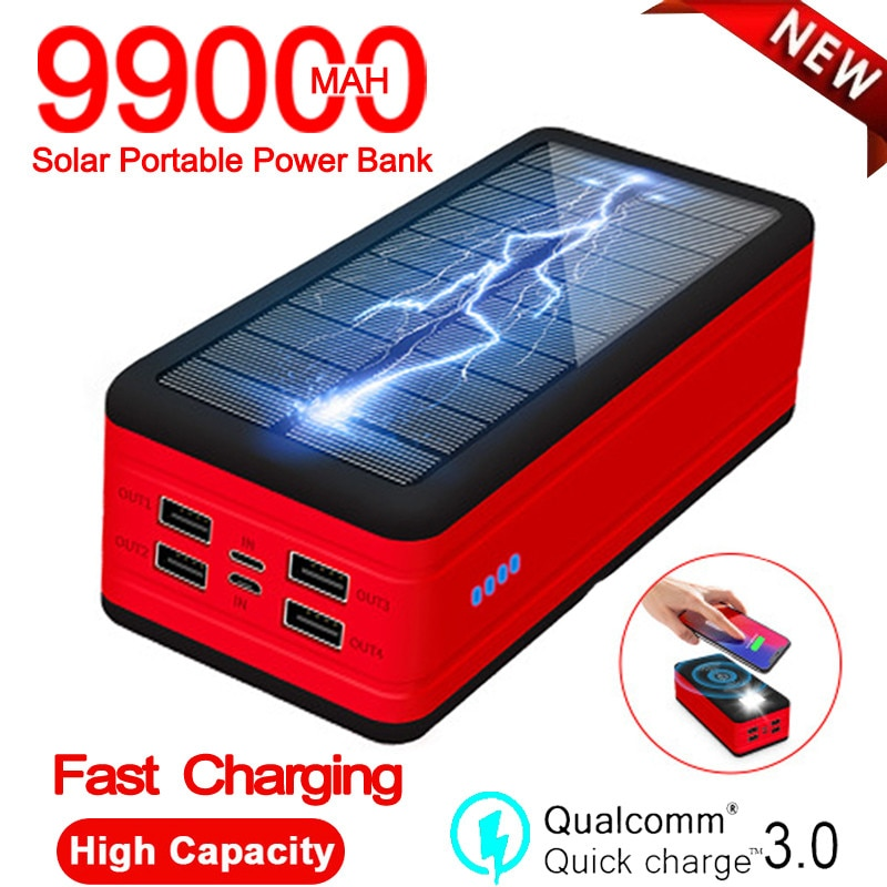 99000mAh Solar Power Bank Wireless Fast Charger Portable Charging External Battery With SOS LED Light For Xiaomi Iphone Samsung