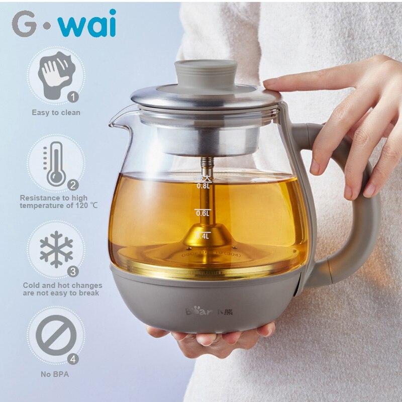 220 В многофункциональный электрический чайник с распылителем из боросиликатного стекла, умный чайник для сохранения тепла, 0.8л
