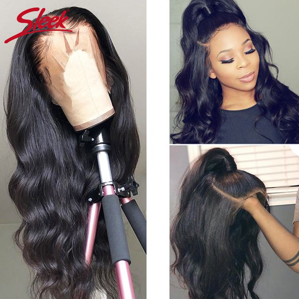 Sleek Malaysia Remy 360 Lace Frontal Human Hair Wigs 28 30 Body Wave Density Human Hair Wigs Pre Plucked With Baby Hair 180%
