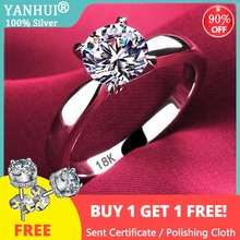Women 18K White Gold Ring With Natural Zirconia Diamond 925 Silver Wedding Band Engagement Bridal Je