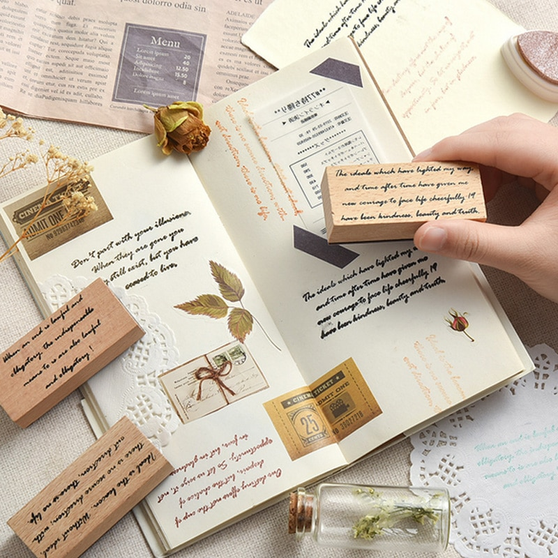 Vintage Letters Series Wood Stamps DIY Craft Wooden Rubber Stamp For Scrapbooking Stationery