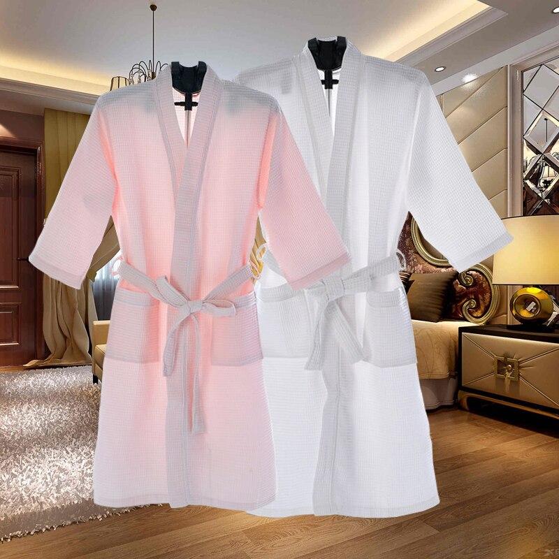 Plus Size 110KG Men Summer Kimono Waffle Bath Robe Absorbent Towel Bathrobe Male Sexy Robes Mens Dressing Gown Women Sleepwear