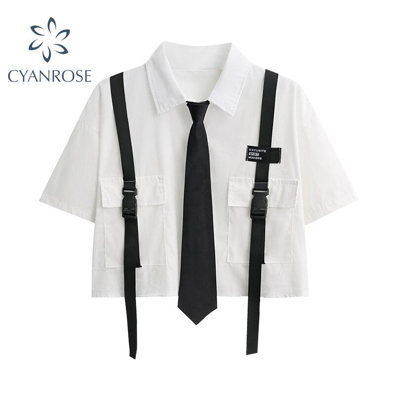 2021 Summer New Preppy Style Women Crop Shirt Tops Korean Turn Down Collar Short Sleeve Harajuku Streetwear Blouse Tops Female