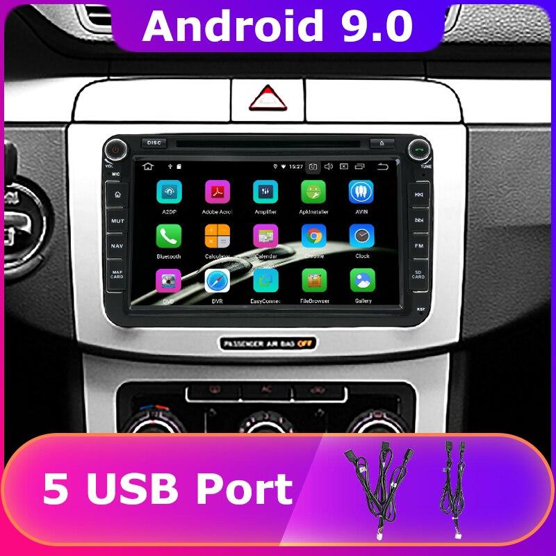 DVD para coche con 5 puertos USB PX6/Octa Core Android 9,0 para Volkswagen Passat GOLF Tiguan Jetta Seat Altea XL Leon Skoda Octavia, Radio GPS para coche DSP
