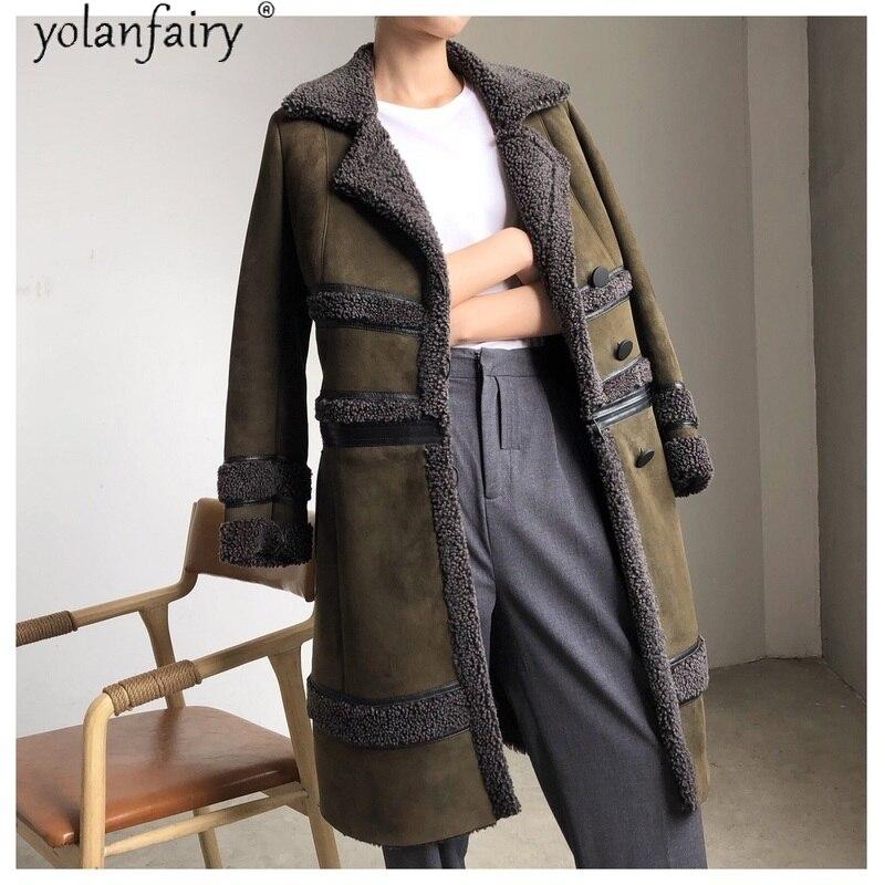 Las mujeres es Real de piel de Abrigo largo chaqueta de invierno...