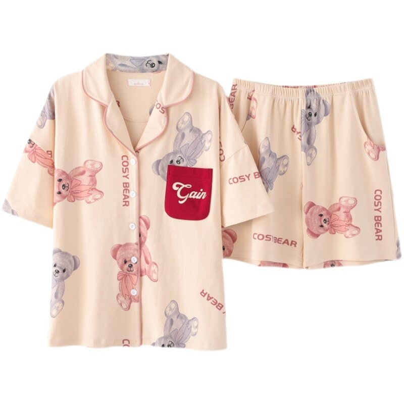 Pure Cotton Pajamas Women's Summer Short Sleeved Cardigan Two-piece Set 2021 New Summer All Cotton T