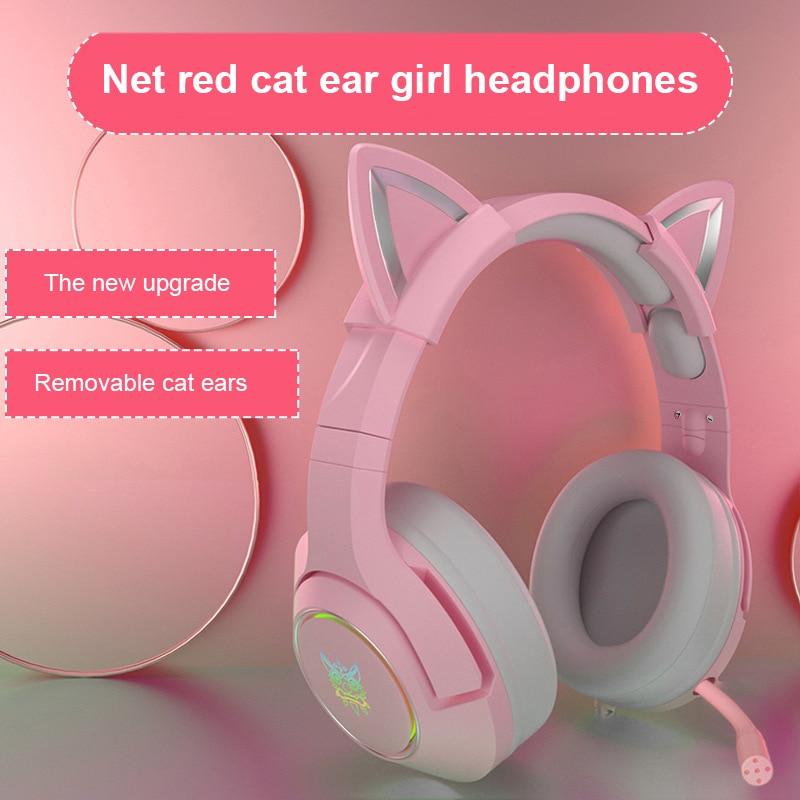 K9-سماعة رأس سلكية للألعاب ، وردي ، قطة ، مع ميكروفون ، ENC ، تقليل الضوضاء ، HiFi 7.1 ، قناة ، للكمبيوتر الشخصي ، لطيف