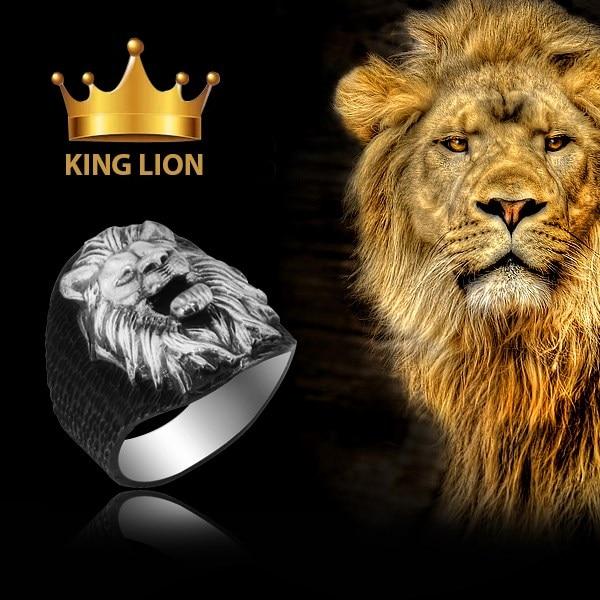King Lion Ring 925 Silver Art Design Historic Lion Rings for Men Embosed Lion Head Ring