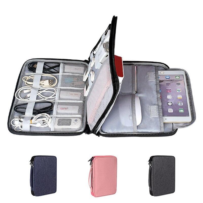 Bolsa de viaje para cables, organizador electrónico portátil Digital con USB, cargador,...