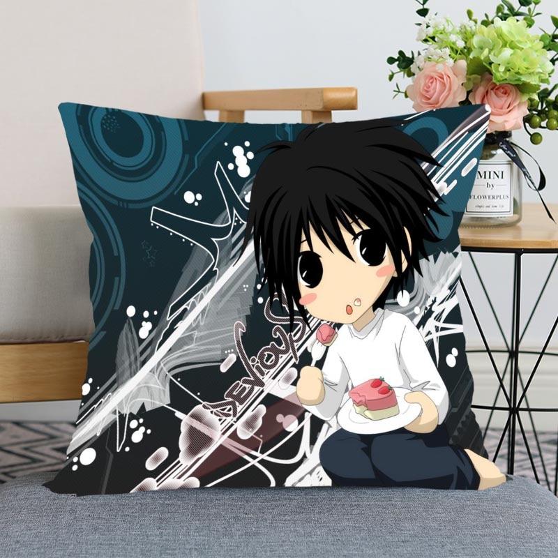 Nueva funda de almohada de Anime Death Note, funda decorativa para cojín de boda, tela suave de satén impresa personalizada, fundas de almohada no se desvanecen