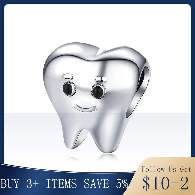 Pandach genuíno 925 prata esterlina adorável dente metal charme para prata cobra pulseira bijoux bonito bebê dentista bijoux c1401