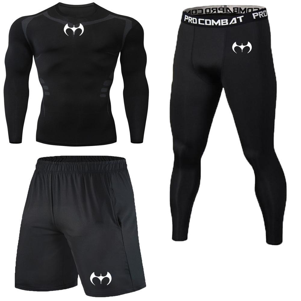Novo logotipo, batman, comprimir, hacer deporte, hombres, secagem, rápide, correndo, definir roupas agalho, joggers, treinamento