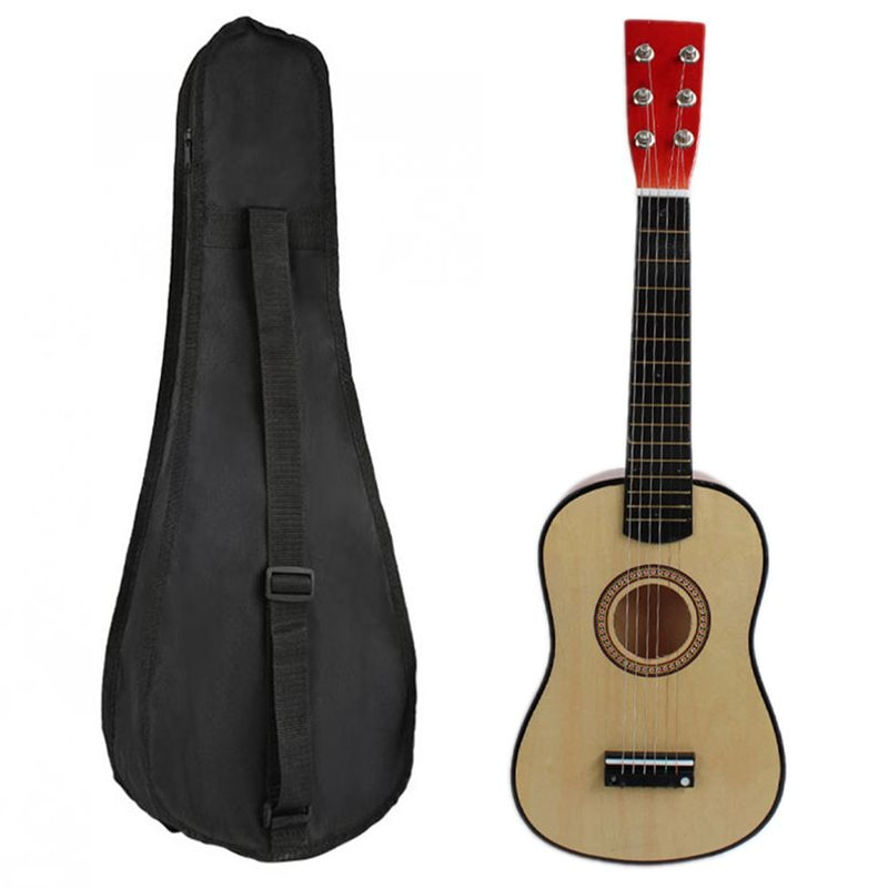 1pcs 23 Inch Guitar Mini Guitar Basswood with Plectrum String & 1pcs 23 Inch Black Uke Bag Portable Ukulele Gig Bag