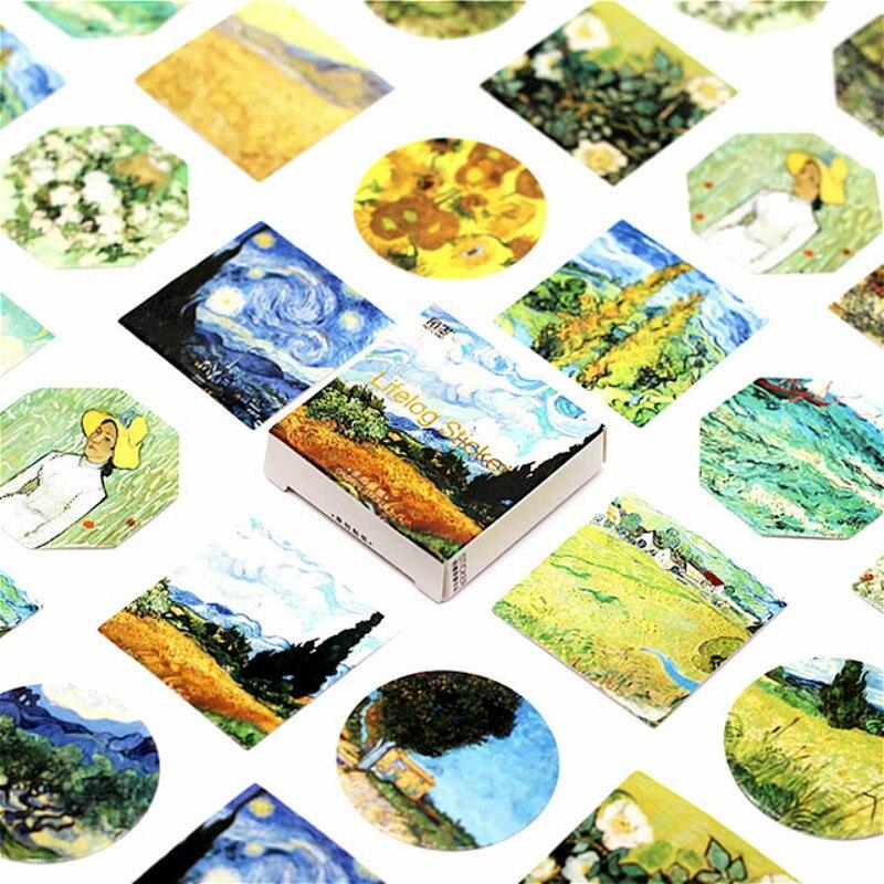Lote de 40 unidades de pegatinas Kawaii Van Gogh para puerta, arte de pared, Mural de Árbol Verde, papel tapiz, póster, pegatinas para puerta de casa propia