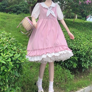 Student Loose Dress Female Summer 2020 New Style Fresh Slightly Sweet Cute Stitching Sailor Collar Skirt fairy Lolita dress