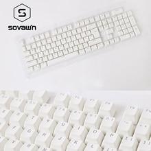 SOVAWIN White 104 Keys Keycaps English Languag Fashion PBT Keycaps Light Key Caps For Mechanical Keyboard Full Set Key Caps New